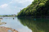 KYOTO, JAPAN - APRIL 26th  : Boats in Hozu(Katsuragawa) River in Arashiyama in Kyoto, Japan on 26th