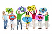 People Holding Speech Bubbles with Social Media Symbols