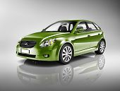Three-Dimensional Shape Green Sedan