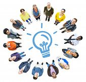 Aerial View of Diverse People and Light Bulb Symbol