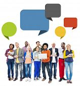Multiethnic Group of People with Digital Devices and Speech Bubbles