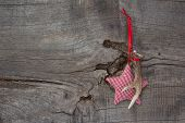 Top View Of Christmas Decoration With Antler And Checked Star On Wooden Background
