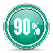 90 percent green glossy web icon