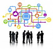 Silhouettes of Business People Social Networking Concept Symbols Above