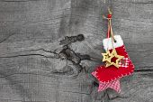 Red Christmas Or Santa Boot On A Wooden Old Shabby Country Style Background