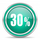 30 percent green glossy web icon