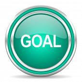 goal green glossy web icon