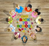 Multiethnic Group of Children with Back to School Concept