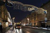 Krakowskie Przedmiescie Street With Christmas Decoration Lights
