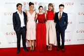 NEW YORK-AUG 11: (L-R) Actors Brenton Thwaites, Katie Holmes, Odeya Rush, Taylor Swift and Cameron Monaghan attend