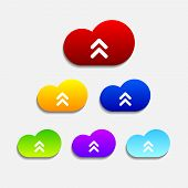 Set of six colorful upload cloud icons