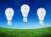 Cloud light bulbs against green field under blue sky