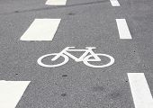 Horizontal Bicycle Sign On Asphalt With White Stripes
