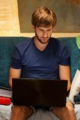 Student Using Laptop Before Exam