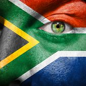 South African Flag Painted On A Man's Face