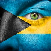 Bahamian Flag Painted On A Man's Face