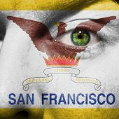 San Francisco City Flag Painted On A Man's Face