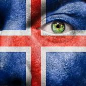Flag Painted On Face With Green Eye To Show Iceland Support