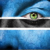Flag Painted On Face With Green Eye To Show Botswana Support