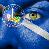 Flag Painted On Face With Green Eye To Show Las Vegas Support