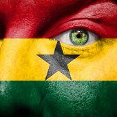 Ghanaian Flag Painted On A Man's Face
