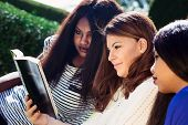 stock photo of three kings  - Three Christian girls studying the Bible as a group - JPG
