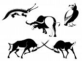 image of mating animal  - Vector original art animal silhouettes collection for design 7 - JPG