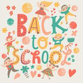 Back to school concept card in bright colors. Cartoon boys and girls are excited and having fun