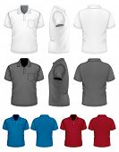 Men's polo-shirt design template (front, rear, side views). Illustration contains gradient mesh. Photo-realistic vector illustration. White, black and color variants.