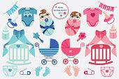 foto of twin baby  - A set of cute cartoon cliparts for newborn baby  boy and girl - JPG