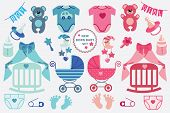foto of cartoons  - A set of cute cartoon cliparts for newborn baby  boy and girl - JPG