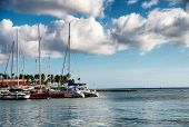 ORANJESTAD, ARUBA - CIRCA DECEMBER 2013 - Scenic view of a variety of pleasure boats, motorboats and