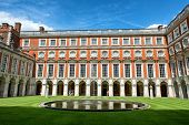 stock photo of fountain grass  - The Fountain Court designed by Sir Christopher Wren at Hampton Court Palace near London - JPG