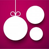 Holiday paper round labels. Christmas balls. Vector illustration.