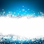 Blue winter abstract background. Christmas background with snowflakes and sparkles. Vector.