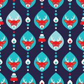 Seamless reindeer winter illustration wrapping paper for christmas background pattern in vector