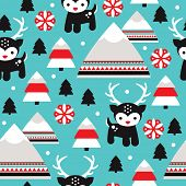 Seamless reindeer winter wonderland kids illustration christmas background pattern in vector