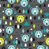 Seamless christmas grizzly bear geometric illustration modern trend background pattern in vector