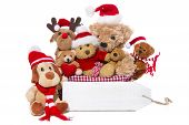 Christmas, Teddy Bears Isolated On White Background - Concept For Team, Friends Or Teamwork