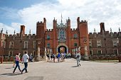 HAMPTON COURT, UK - AUGUST 03, 2014 - West Front & Main Entrance of Hampton Court Palace near London on August 03, 2014