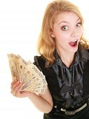 Happy Woman Holding Polish Currency Money Banknote.
