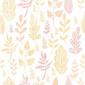 Textile textured fall leaves seamless pattern background