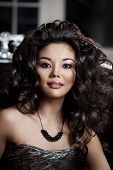 Asian woman. Fashionable modern luxury woman with fashion hairstyle and makeup.