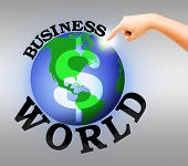 Human Hand Point To Digital Business World