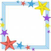 Decorative cyan frame with cartoon starfishes