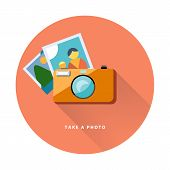 Photo camera web icon flat design, vector illustration.