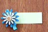 Hairpins Of Blue Flower Pattern And Note Paper.
