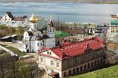 Russia, Nizhny Novgorod - May 01, 2014: View Of The Church Of Our Lady Of Kazan To The Kremlin Wall.
