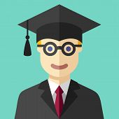 Smiling graduate student flat icon