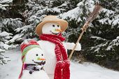 Winter - Couple Of Snowman In A Snowy Landscape With A Hat And Cap